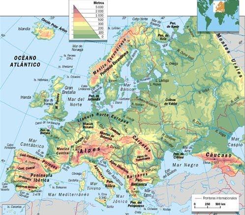Mapa Fisico De Europa Rios.Mapa Fisico Da Europa Rios E Montanhas