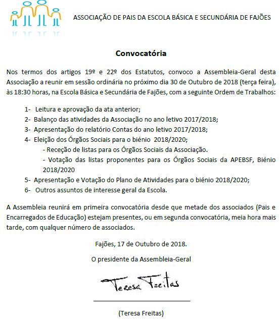 ASSOCIAÇÃO DE PAIS - CONVOCATÓRIA